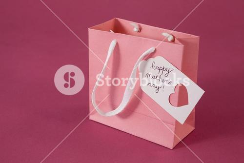 Happy mothers day card on paper bag