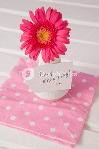 Happy mothers day card on flowers vase