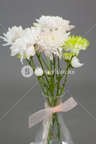 Close-up of flower vase tied with ribbon