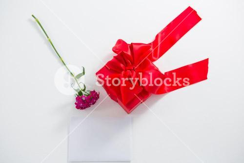 Gift box and pink flower with blank paper