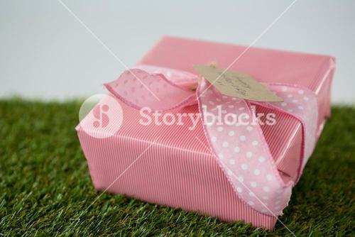 Gift box with happy mother day tag on grass