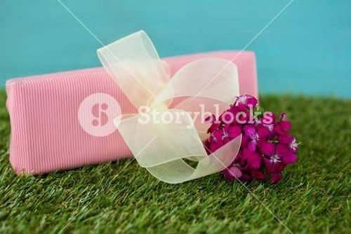 Gift box with flowers on grass