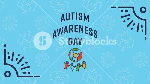 Greeting card with autism awareness day message