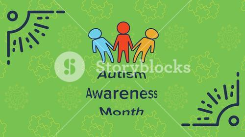 Greeting card with autism awareness month message