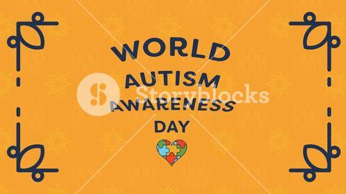 Greeting card with world autism awareness day message