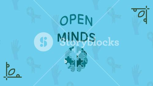Greeting card with open minds text