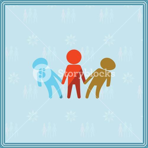 Greeting card with unity in diversity symbol