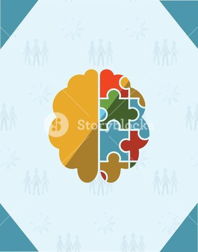 Greeting card with puzzle brain symbol