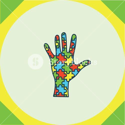 Greeting card with puzzle hand symbol
