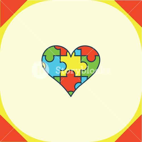 Greeting card with puzzle heart symbol