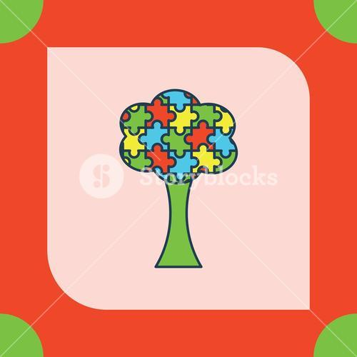 Greeting card with autism tree symbol
