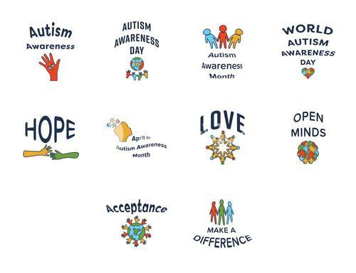 Vector icon set for autism awareness