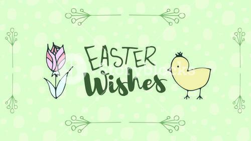 Greeting card with easter wishes message
