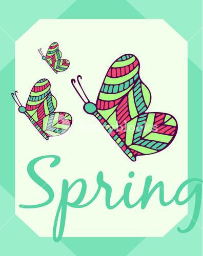 Greeting card with spring text