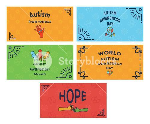 Vector icon set of greeting cards with autism awareness message