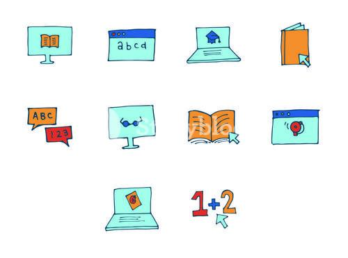 Vector icon set for online education
