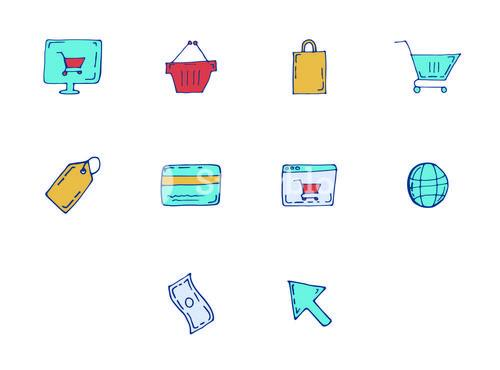 Vector icon set for online shopping