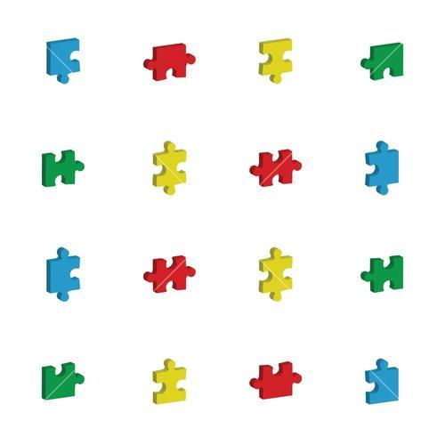 Vector icon set for jigsaw puzzle