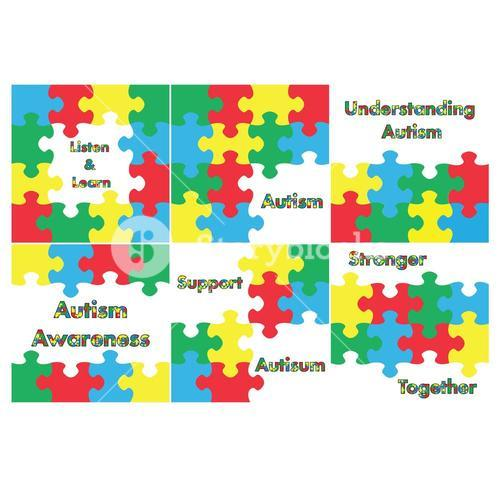 Vector icon set for jigsaw puzzle and autism awareness messages