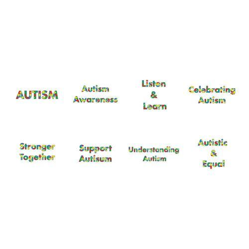 Vector icon set for autism awareness messages