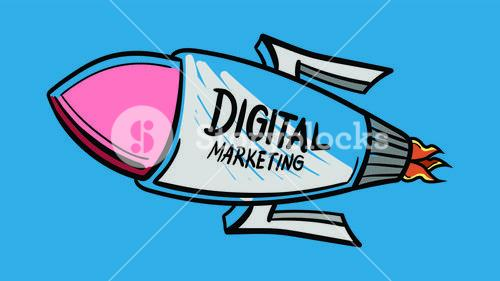 Vector icon of rocket with digital marketing in text