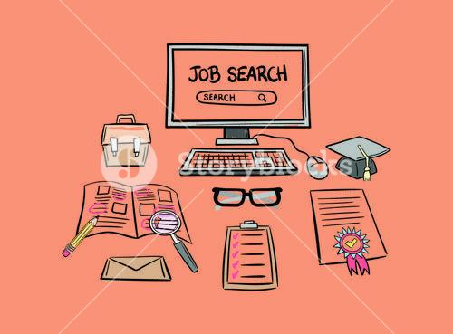 Vector icon of job search