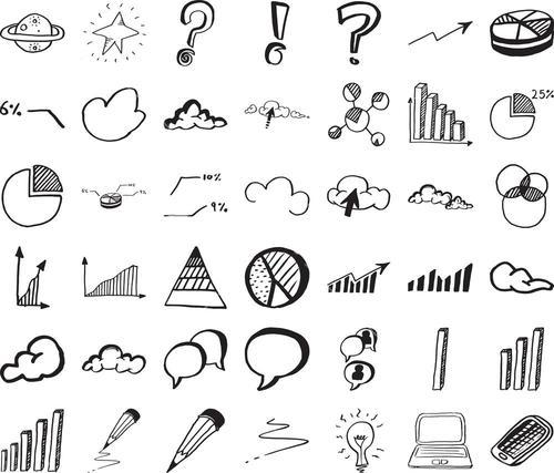 Vector icon set of business infographics