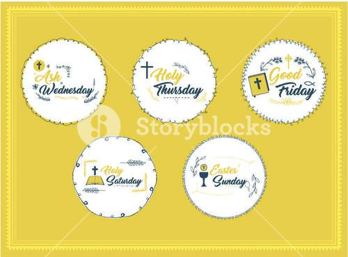 Vector icon set of easter message