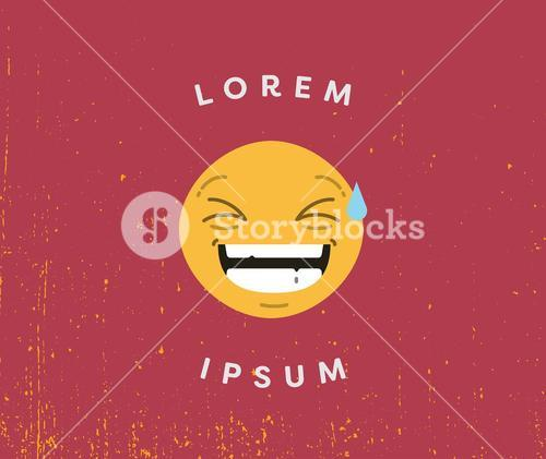 Card with laughing emoji and text lorem ipsum