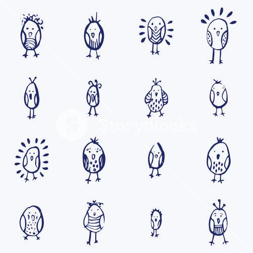 Vector icon set of easter chicks