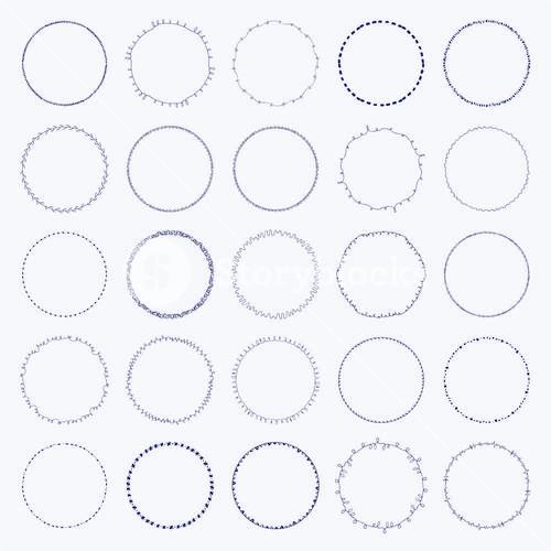 Vector icon set of round frames