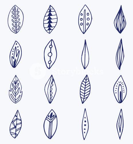 Vector icon set of leaves