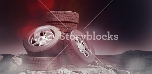 Composite image of row of tyres 3d