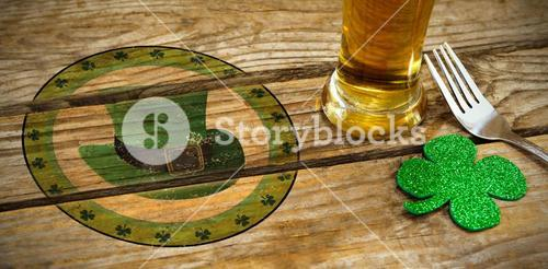 Composite image of composite image of st patrick day with green hat symbol