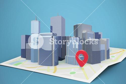 Composite image of three dimensional image of modern buildings 3d