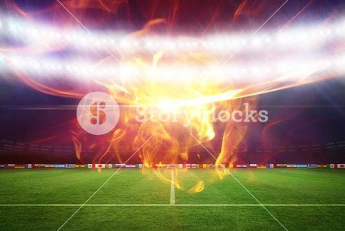 Composite image of ball of fire 3d