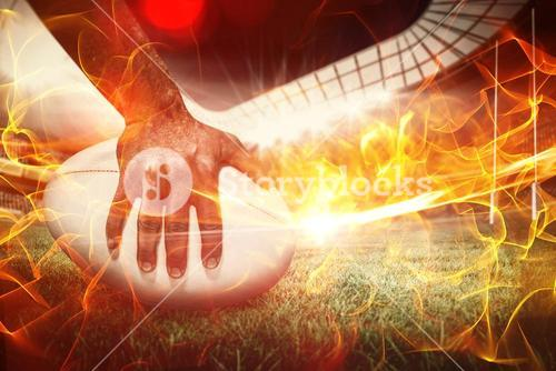 Composite image of composite image of close-up of sports player holding ball 3d