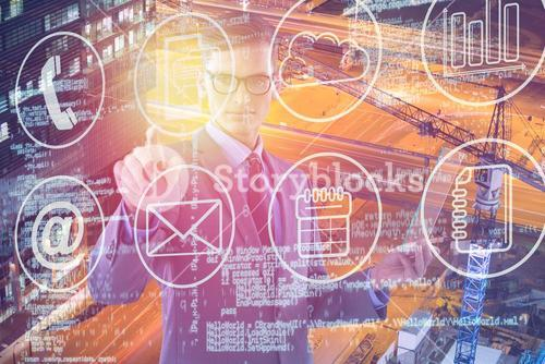 Composite image of businessman holding glass sheet and touching invisible screen 3d