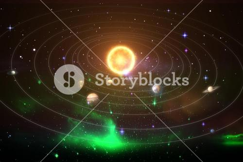 Graphic image of solar system 3d