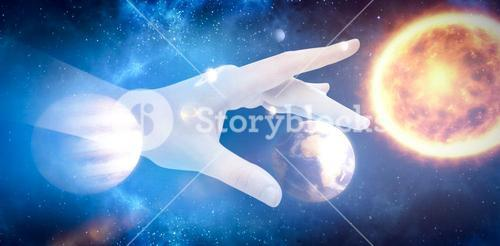 Composite image of cropped hand of man gesturing 3d