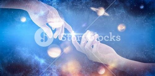 Composite image of hand of man pretending to hold an invisible object 3d