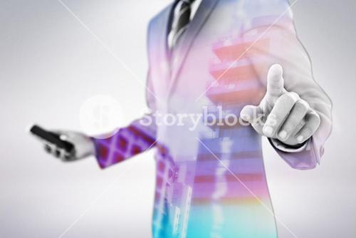 Composite image of midsection of businessman using futuristic digital screen 3d
