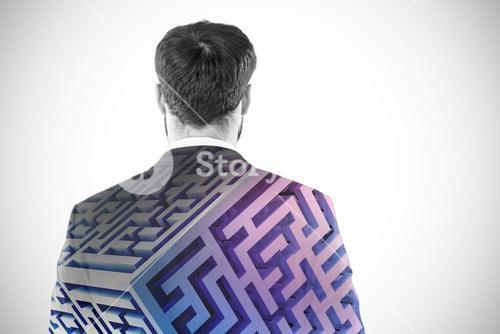 Composite image of businessman pretending to standing against invisible screen 3d