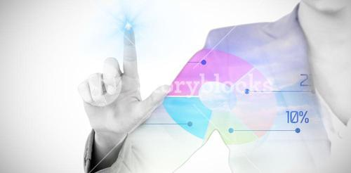 Composite image of businesswoman using invisible digital screen 3d