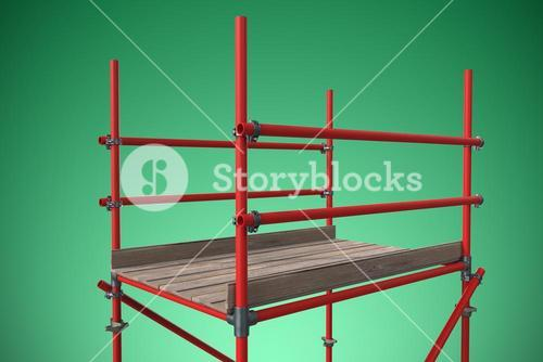 Composite image of digitally composite image of red scaffolding