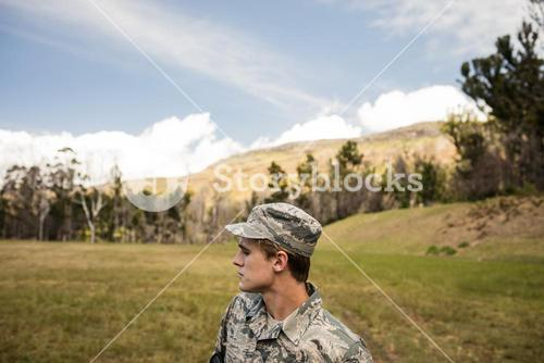 Military soldier guarding in boot camp