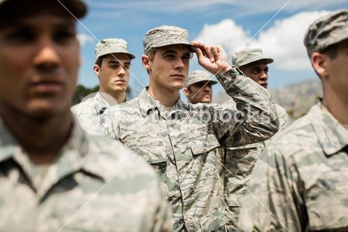 Military soldiers standing in boot camp