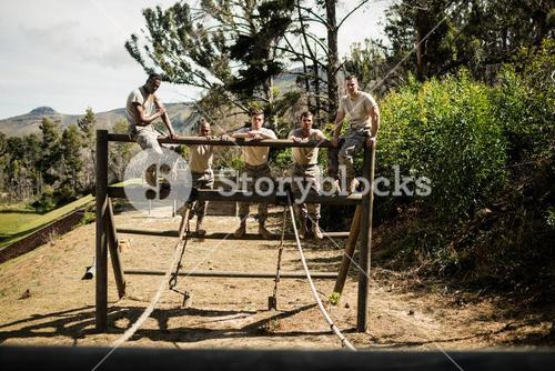 Soldiers standing on the obstacle course