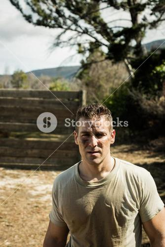 Soldier standing in boot camp