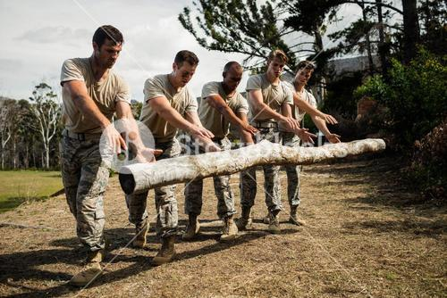 Soldiers dropping a tree log